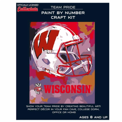 Wisconsin Badgers Team Pride Paint by Number Craft Kit Perspective: front