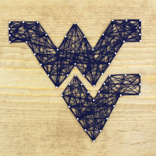 West Virginia Mountaineers Team Pride String Art Craft Kit Perspective: front