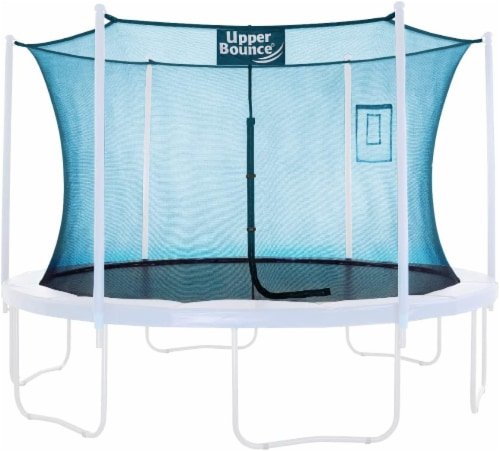Safety  Enclosure Net Fits 12' Round Trampoline,6 Curved Poles - Aquamarine Perspective: front