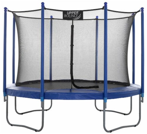 10 FT Round Trampoline Set with Safety Enclosure System - Blue Perspective: front