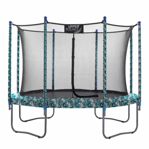 10 FT Round Trampoline Set with Safety Enclosure System - Maui Marble Perspective: front