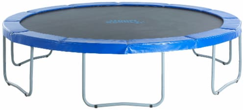 Upper Bounce Round Trampoline with Blue Safety Pad Perspective: front