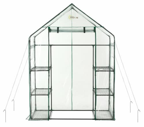 Ogrow Deluxe Walk In 3 Tier 6 Shelf Portable Greenhouse Perspective: front