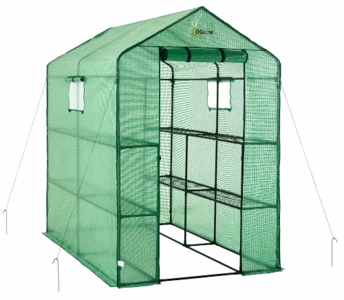 Ogrow Large Heavy Duty Walk-In Portable Lawn & Garden Greenhouse Perspective: front