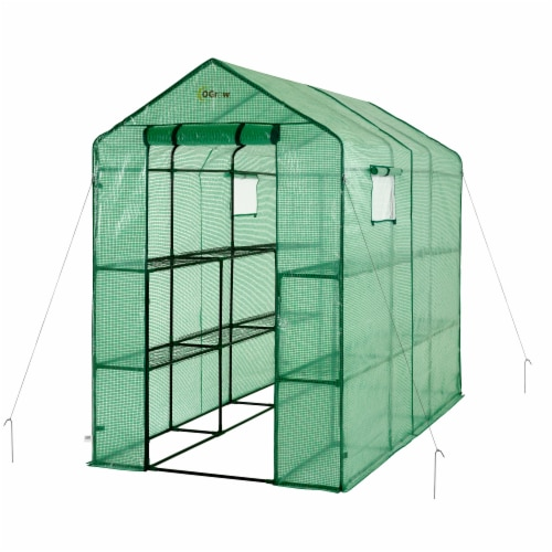 Ogrow Extra Large Heavy Duty Walk-In Portable Lawn and Garden Greenhouse Perspective: front
