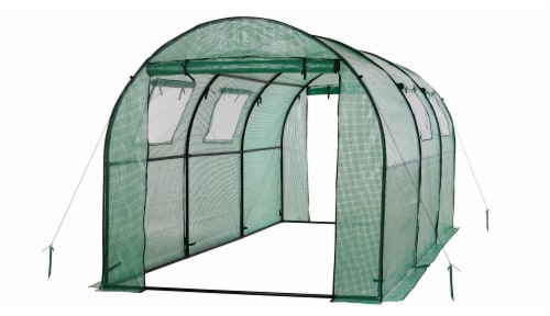 Ogrow Two Door Walk-In Tunnel Greenhouse With Ventilation Windows And Steel Frame Perspective: front