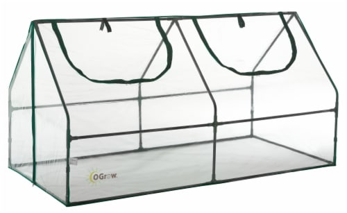 Ogrow Ultra Deluxe Compact Outdoor Seed Starter Greenhouse Perspective: front