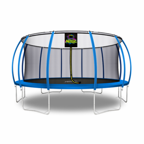 Moxie Pumpkin-Shaped Outdoor Trampoline with Top-Ring Frame Enclosure, 16 FT - Blue Perspective: front