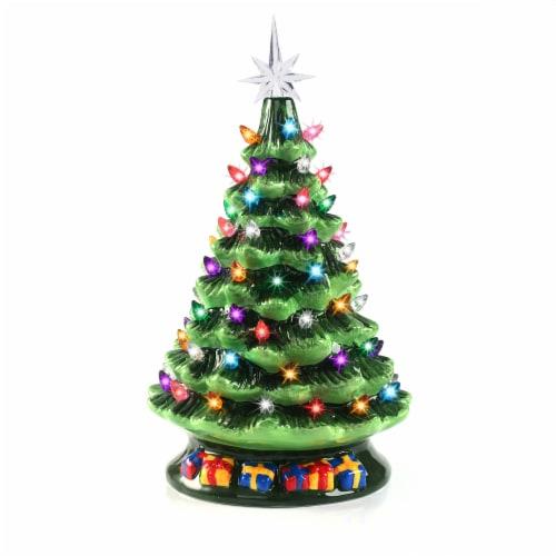 Joyin Tabletop Pre-lit Ceramic Christmas Tree Perspective: front