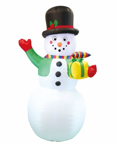 Joiedomi Christmas Snowman with Present Inflatable Decoration Perspective: front