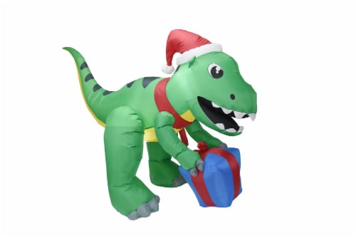 Joiedomi Inflatable Giant Dinosaur with Santa Hat Perspective: front
