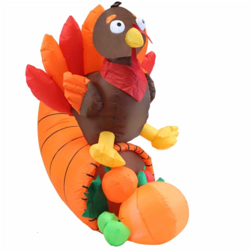 Joiedomi Thanksgiving Turkey on Cornucopia Inflatable Perspective: front