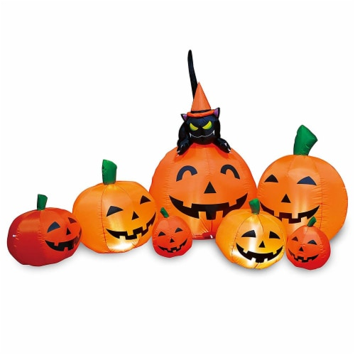 Joiedomi Halloween Pumpkin Patch with Cat Inflatable Perspective: front