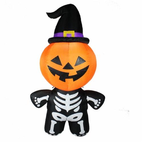 Joiedomi Halloween Pumpkin Skeleton Inflatable Perspective: front