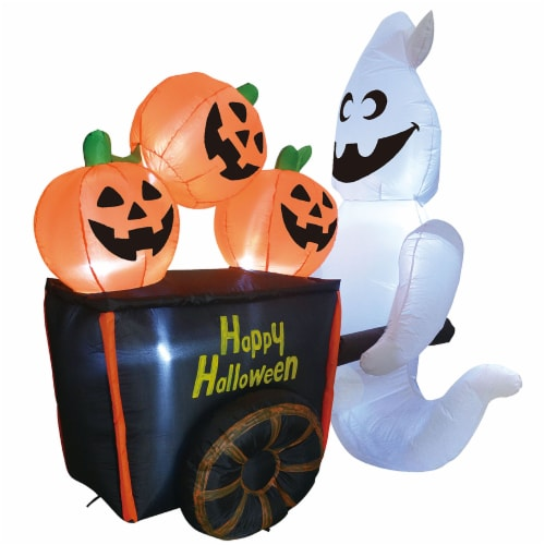 Joiedomi Halloween Ghost Pushing Pumpkin Cart Inflatable Perspective: front