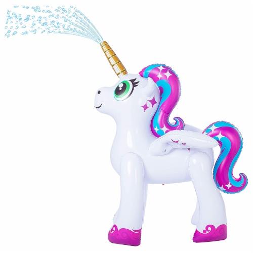JOYIN Rainbow Unicorn Inflatable Yard Sprinkler Perspective: front