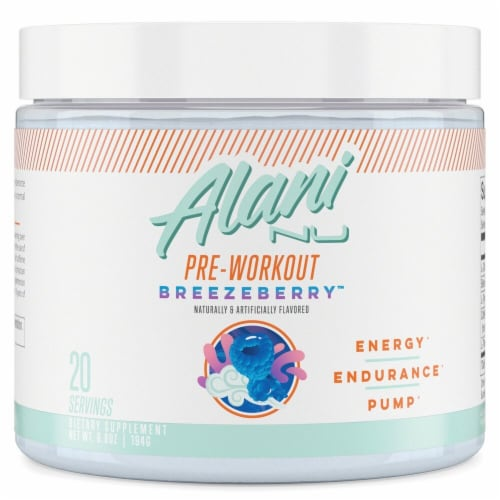 Alani NU Breezeberry Pre-Workout Perspective: front