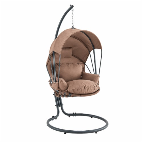Hanging Egg Chair Swing Lounge Chair Canopy Cover with Stand, Brown Perspective: front