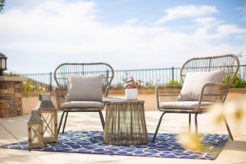 3pcs Patio Set Seating Cushion w/ Table Bistro Set Outdoor Wicker, Grey Perspective: front
