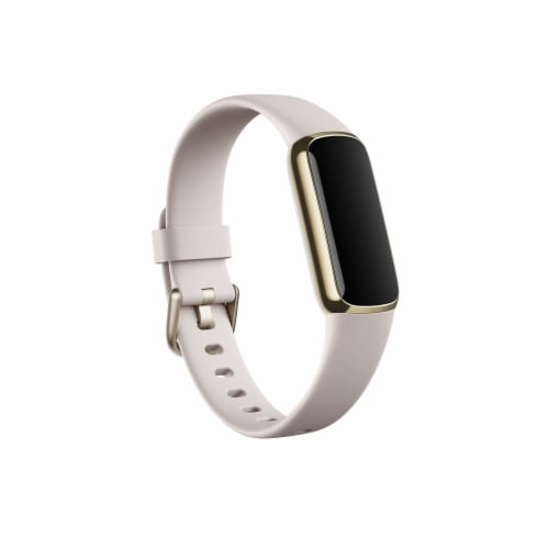 Fitbit Luxe Fitness Tracker with Band - White/Solf Gold Perspective: front