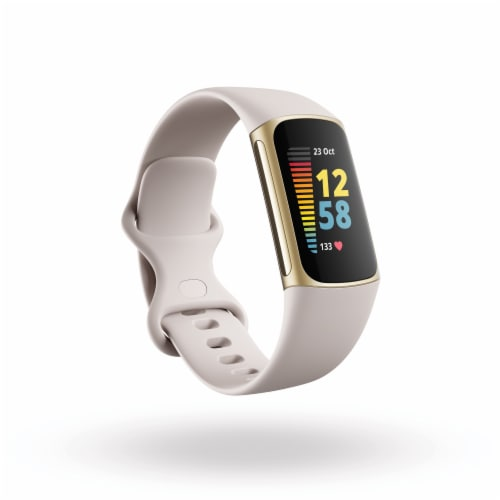 Fitbit Charge 5 Gold & Lunar White Fitness & Health Tracker Perspective: front