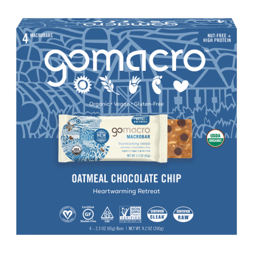 GoMacro MacroBar Oatmeal Chocolate Chip Bars Perspective: front