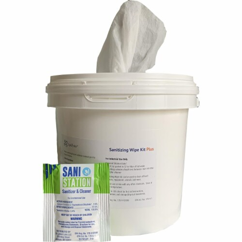 1 Dry Airlaid Wiper Roll in a White Bucket w/Dispenser Lid w/Cleaner Packet Perspective: front
