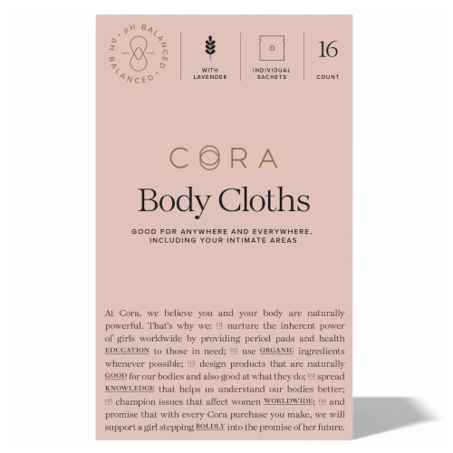 Cora Bamboo Body Cloth Lavender Sachets 16 Count Perspective: front