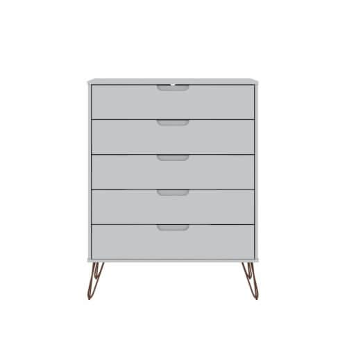 Manhattan Comfort Rockefeller 5-Drawer Tall Dresser with Metal Legs in White Perspective: front