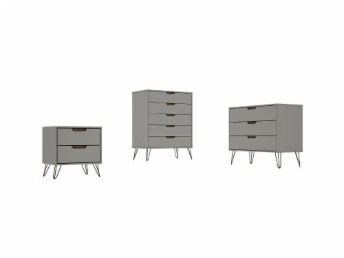 Manhattan Comfort Rockefeller 5-Drawer Tall Dresser with Metal Legs in Off White and Nature Perspective: front