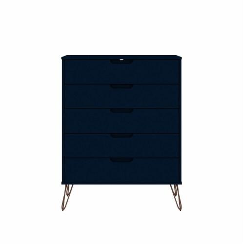Manhattan Comfort Rockefeller 5-Drawer Tall Dresser with Metal Legs in Tatiana Midnight Blue Perspective: front