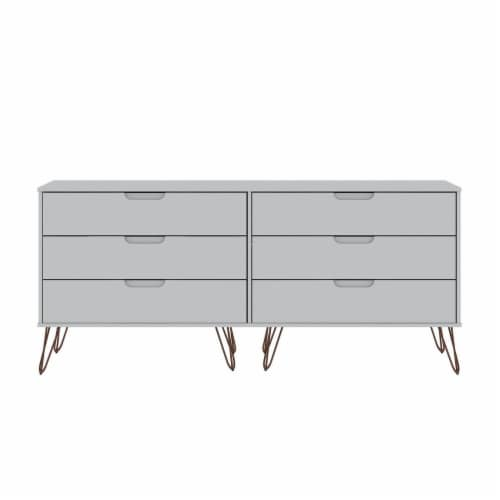 Manhattan Comfort Rockefeller 6-Drawer Double Low Dresser with Metal Legs in White Perspective: front