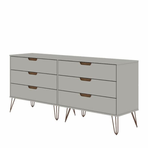 Rockefeller 6-Drawer Double Low Dresser with Metal Legs in Off White and Nature Perspective: front