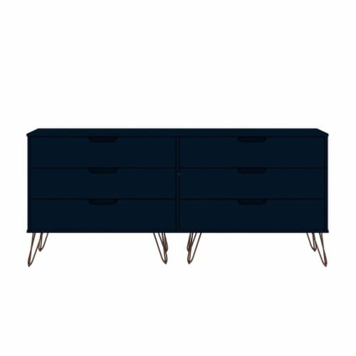Rockefeller 6-Drawer Double Low Dresser with Metal Legs in Tatiana Midnight Blue Perspective: front