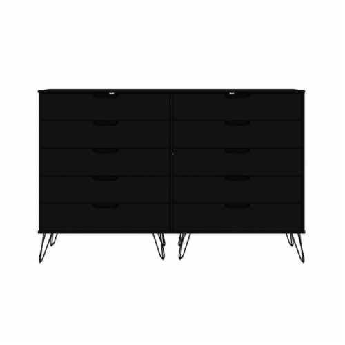 Manhattan Comfort Rockefeller 10-Drawer Double Tall Dresser with Metal Legs in Black Perspective: front