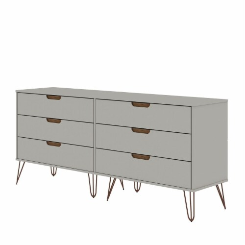 Rockefeller 10-Drawer Double Tall Dresser with Metal Legs in Off White and Nature Perspective: front