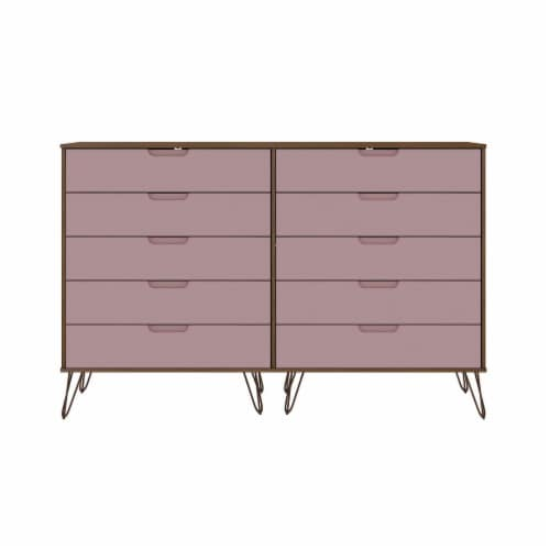 Rockefeller 10-Drawer Double Tall Dresser with Metal Legs in Nature and Rose  Pink Perspective: front