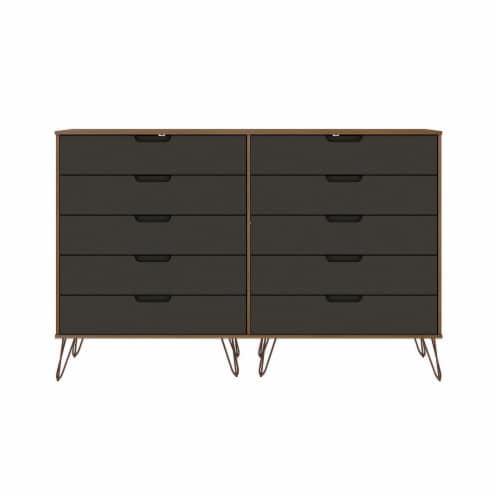 Rockefeller 10-Drawer Double Tall Dresser with Metal Legs in Nature and Textured Grey Perspective: front