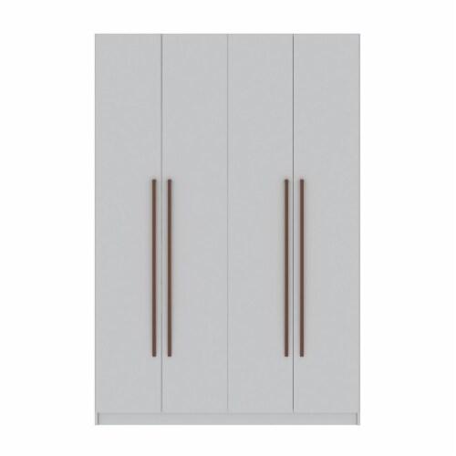 Manhattan Comfort Gramercy Modern 2-Section Freestanding Wardrobe Armoire Closet in White Perspective: front