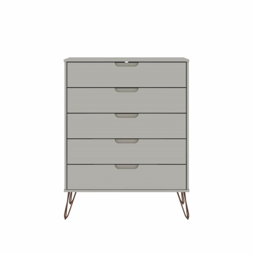 Manhattan Comfort Rockefeller 5-Drawer Tall Dresser with Metal Legs in Off White Perspective: front