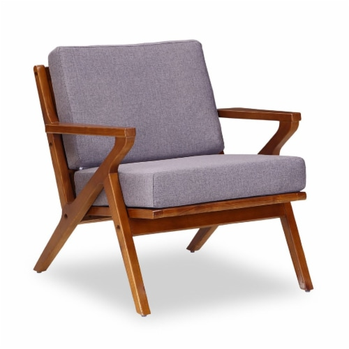 Manhattan Comfort Martelle Grey and Amber Twill Weave Accent Chair Perspective: front
