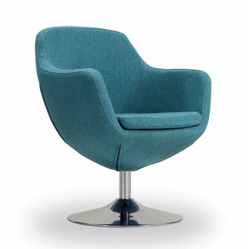Manhattan Comfort Caisson Blue and Polished Chrome Twill Swivel Accent Chair Perspective: front