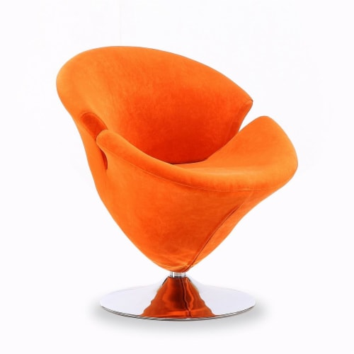 Manhattan Comfort Tulip Orange and Polished Chrome Velvet Swivel Accent Chair Perspective: front