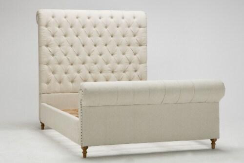 Manhattan Comfort Empire Cream Queen Bed Perspective: front