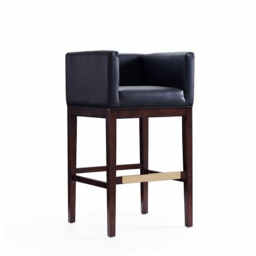 Manhattan Comfort Kingsley 38 in. Black and Dark Walnut Beech Wood Barstool Perspective: front