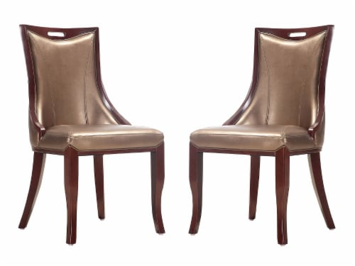 Manhattan Comfort Emperor Bronze and Walnut Faux Leather Dining Chair (Set of Two) Perspective: front