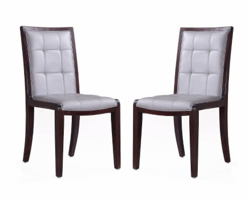 Manhattan Comfort Executor Silver and Walnut Faux Leather Dining Chairs (Set of Two) Perspective: front