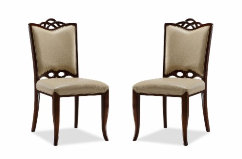 Manhattan Comfort Regent Cream and Walnut Faux Leather Dining Chair (Set of Two) Perspective: front