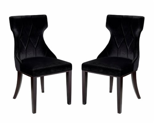 Manhattan Comfort Reine Black and Walnut Velvet Dining Chair (Set of Two) Perspective: front
