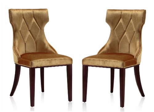 Manhattan Comfort Reine Antique Gold and Walnut Velvet Dining Chair (Set of Two) Perspective: front